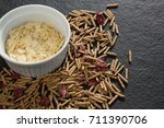 bowl of corn bran with cereal... | Shutterstock . vector #711390706