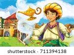 cartoon fairy tale scene with... | Shutterstock . vector #711394138