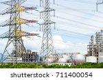 oil refineries in the night | Shutterstock . vector #711400054