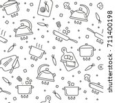 cooking symbols seamless...   Shutterstock .eps vector #711400198