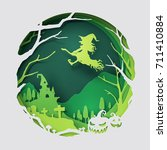 paper art of witch flying above ... | Shutterstock .eps vector #711410884