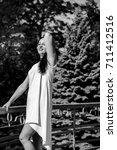 a mature active simple woman... | Shutterstock . vector #711412516