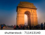 india gate around blue sky  new ... | Shutterstock . vector #711413140