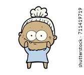 cartoon happy old woman | Shutterstock .eps vector #711419719