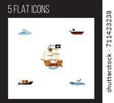 flat icon ship set of tanker ... | Shutterstock .eps vector #711423238