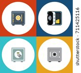 flat icon safe set of saving ... | Shutterstock .eps vector #711425116