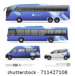 transport mockup of coach bus ... | Shutterstock .eps vector #711427108
