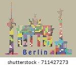 berlin landmarks and symbols .... | Shutterstock .eps vector #711427273