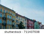 colorful buildings at berlin in ... | Shutterstock . vector #711437038