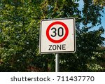 traffic limit sign with number... | Shutterstock . vector #711437770