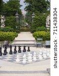street chessboard with black...   Shutterstock . vector #711438304