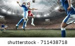 soccer players performs an... | Shutterstock . vector #711438718