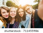 group of teenager students... | Shutterstock . vector #711455986