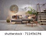 modern grey stone wall luxury... | Shutterstock . vector #711456196