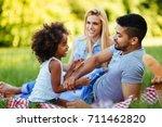 happy family having fun time on ...   Shutterstock . vector #711462820