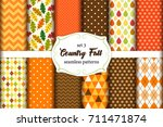 set of 12 cute seamless country ... | Shutterstock .eps vector #711471874