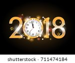 2018 new year gold letters with ... | Shutterstock .eps vector #711474184