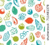 pattern with vector exotic... | Shutterstock .eps vector #711481378