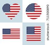 usa flag set vector | Shutterstock .eps vector #711500890