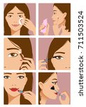 Young girl during makeup ritual, steps of the procedure, vector image