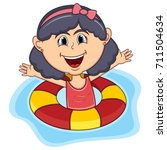 girls swim cartoon | Shutterstock . vector #711504634