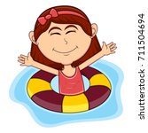 girls swim cartoon | Shutterstock . vector #711504694