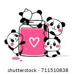 happy cute pandas eat fruit jam ... | Shutterstock .eps vector #711510838