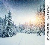 dairy star trek in the winter... | Shutterstock . vector #711512434