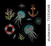 anchor  lifebuoy  coral....   Shutterstock .eps vector #711514168