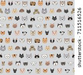 cats and dogs animal doodle... | Shutterstock .eps vector #711516526
