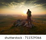 photographer outdoor during sunset - stock photo