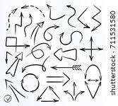 set of hand drawn paintbrush... | Shutterstock .eps vector #711531580