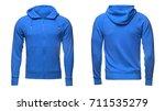 blank blue male hoodie... | Shutterstock . vector #711535279