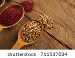 wooden spoon filled with... | Shutterstock . vector #711537034