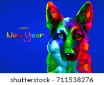 new year 2018. chinese new year ... | Shutterstock .eps vector #711538276