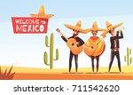 mexican musicians vector... | Shutterstock .eps vector #711542620