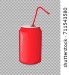 cola drink in a red metal bank... | Shutterstock .eps vector #711543580
