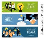 three horizontal success... | Shutterstock .eps vector #711545410