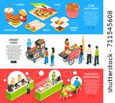 fast food restaurants streets... | Shutterstock .eps vector #711545608