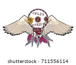 wild and free  tribal amulet.... | Shutterstock .eps vector #711556114
