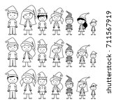 vector collection of line art... | Shutterstock .eps vector #711567919