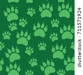 cat or dog paw seamless pattern ... | Shutterstock .eps vector #711571924