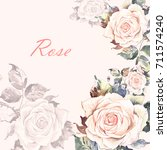 watercolor floral background of ... | Shutterstock . vector #711574240