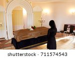 people and mourning concept  ... | Shutterstock . vector #711574543