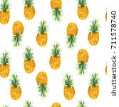 pattern with yellow pineapple... | Shutterstock . vector #711578740