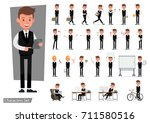 set of businessman character... | Shutterstock .eps vector #711580516