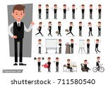 set of businessman character... | Shutterstock .eps vector #711580540