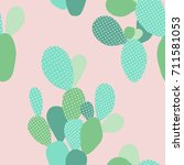 vector pastel seamless  cactus... | Shutterstock .eps vector #711581053