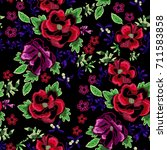 embroidery folk seamless... | Shutterstock .eps vector #711583858
