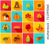 thanksgiving day colorful icons.... | Shutterstock .eps vector #711595060